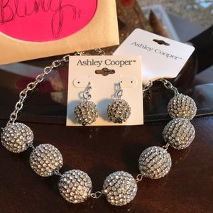 BLING Silver Ball Necklace & Earrings Set NWT